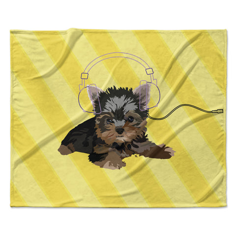 "NL Designs ""Rockin' Pups Yorkie"" Yellow Brown Animals Digital Illustration Fleece Throw Blanket"