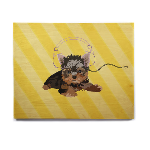 "NL Designs ""Rockin' Pups Yorkie"" Yellow Brown Animals Digital Illustration Birchwood Wall Art"