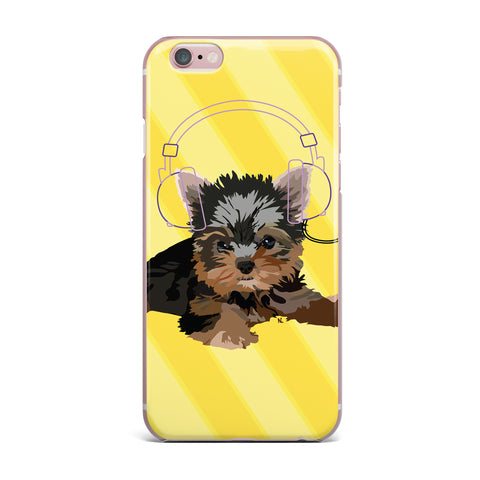 "NL Designs ""Rockin' Pups Yorkie"" Yellow Brown Animals Digital Illustration iPhone Case"