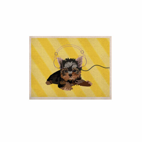 "NL Designs ""Rockin' Pups Yorkie"" Yellow Brown Animals Digital Illustration KESS Naturals Canvas (Frame not Included)"