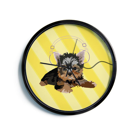 "NL Designs ""Rockin' Pups Yorkie"" Yellow Brown Animals Digital Illustration Modern Wall Clock"