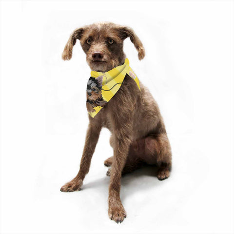 "NL Designs ""Rockin' Pups Yorkie"" Yellow Brown Animals Digital Illustration Pet Bandana"