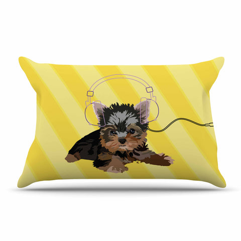 "NL Designs ""Rockin' Pups Yorkie"" Yellow Brown Animals Digital Illustration Pillow Sham"