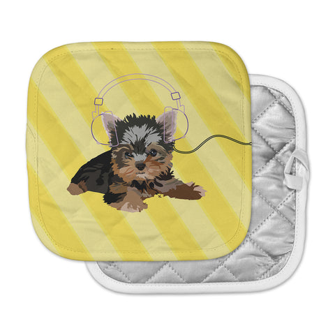 "NL Designs ""Rockin' Pups Yorkie"" Yellow Brown Animals Digital Illustration Pot Holder"