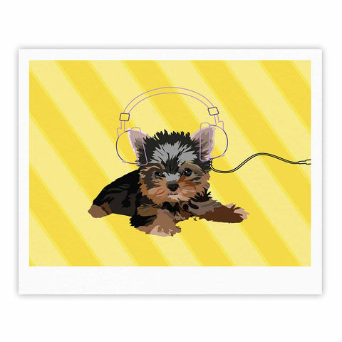 "NL Designs ""Rockin' Pups Yorkie"" Yellow Brown Animals Digital Illustration Fine Art Gallery Print"