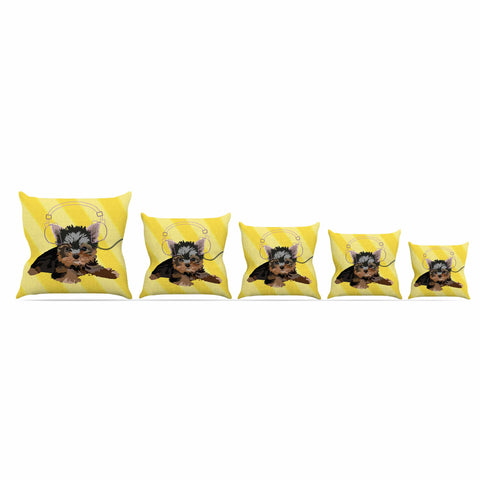 "NL Designs ""Rockin' Pups Yorkie"" Yellow Brown Animals Digital Illustration Outdoor Throw Pillow"