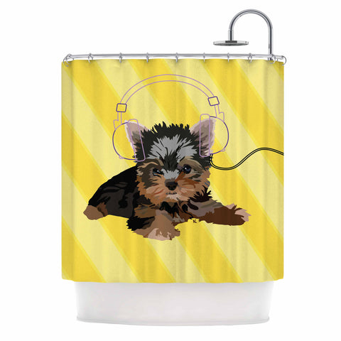 "NL Designs ""Rockin' Pups Yorkie"" Yellow Brown Animals Digital Illustration Shower Curtain"