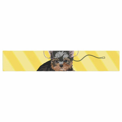 "NL Designs ""Rockin' Pups Yorkie"" Yellow Brown Animals Digital Illustration Table Runner"