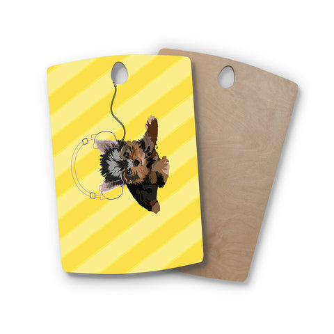 "NL Designs ""Rockin' Pups Yorkie"" Yellow Brown Animals Digital Illustration Rectangle Wooden Cutting Board"