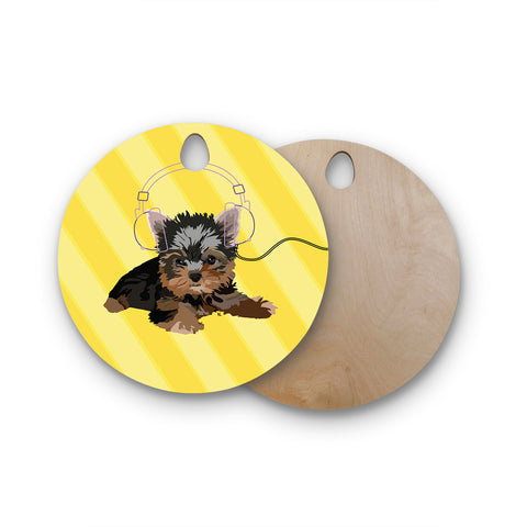 "NL Designs ""Rockin' Pups Yorkie"" Yellow Brown Animals Digital Illustration Round Wooden Cutting Board"