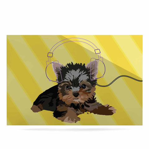 "NL Designs ""Rockin' Pups Yorkie"" Yellow Brown Animals Digital Illustration Luxe Rectangle Panel"