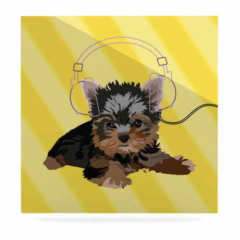 "NL Designs ""Rockin' Pups Yorkie"" Yellow Brown Animals Digital Illustration Luxe Square Panel"