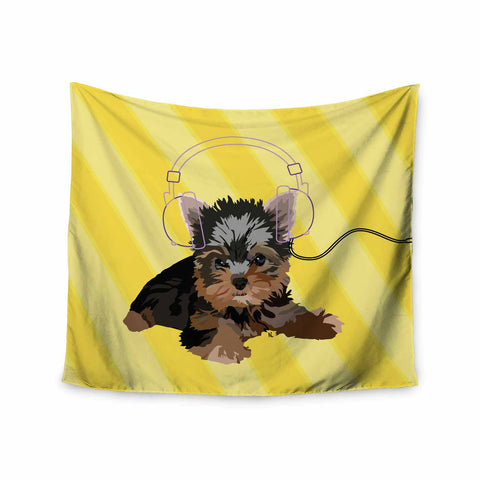 "NL Designs ""Rockin' Pups Yorkie"" Yellow Brown Animals Digital Illustration Wall Tapestry"