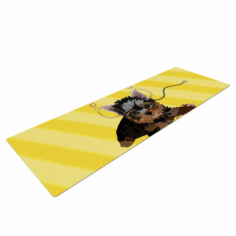 "NL Designs ""Rockin' Pups Yorkie"" Yellow Brown Animals Digital Illustration Yoga Mat"