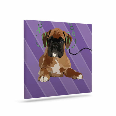 "NL Designs ""Rockin' Pup Boxer"" Purple Brown Animals Digital Illustration Art Canvas"