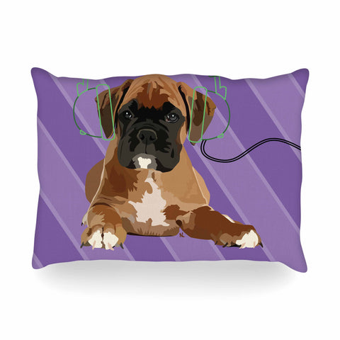 "NL Designs ""Rockin' Pup Boxer"" Purple Brown Animals Digital Illustration Oblong Pillow"