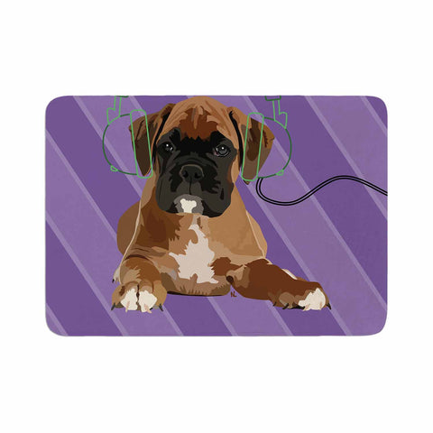 "NL Designs ""Rockin' Pup Boxer"" Purple Brown Animals Digital Illustration Memory Foam Bath Mat"