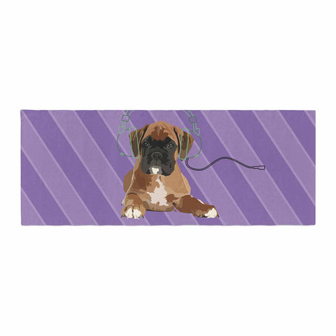"NL Designs ""Rockin' Pup Boxer"" Purple Brown Animals Digital Illustration Bed Runner"