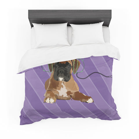 "NL Designs ""Rockin' Pup Boxer"" Purple Brown Animals Digital Illustration Featherweight Duvet Cover"