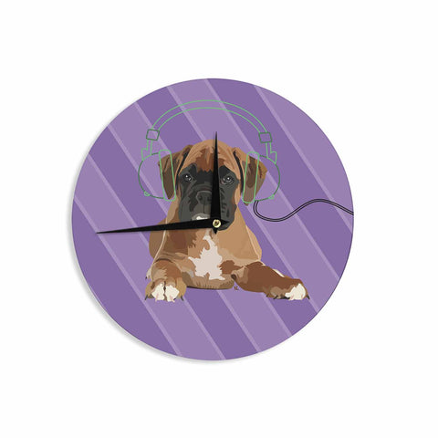 "NL Designs ""Rockin' Pup Boxer"" Purple Brown Animals Digital Illustration Wall Clock"