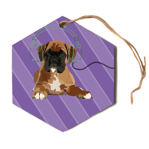"NL Designs ""Rockin' Pup Boxer"" Purple Brown Animals Digital Illustration Hexagon Holiday Ornament"