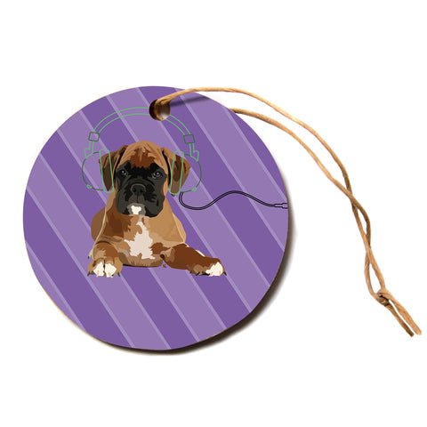 "NL Designs ""Rockin' Pup Boxer"" Purple Brown Animals Digital Illustration Circle Holiday Ornament"