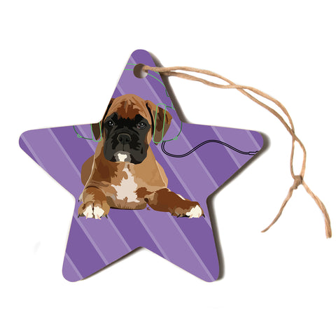 "NL Designs ""Rockin' Pup Boxer"" Purple Brown Animals Digital Illustration Star Holiday Ornament"