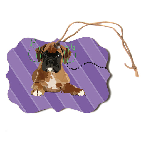 "NL Designs ""Rockin' Pup Boxer"" Purple Brown Animals Digital Illustration Scroll Holiday Ornament"