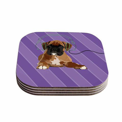 "NL Designs ""Rockin' Pup Boxer"" Purple Brown Animals Digital Illustration Coasters (Set of 4)"