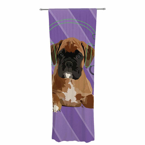 "NL Designs ""Rockin' Pup Boxer"" Purple Brown Animals Digital Illustration Decorative Sheer Curtain"