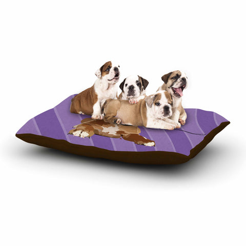 "NL Designs ""Rockin' Pup Boxer"" Purple Brown Animals Digital Illustration Dog Bed"