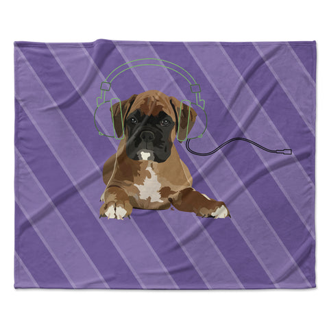 "NL Designs ""Rockin' Pup Boxer"" Purple Brown Animals Digital Illustration Fleece Throw Blanket"