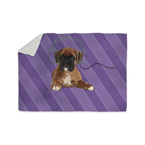 "NL Designs ""Rockin' Pup Boxer"" Purple Brown Animals Digital Illustration Sherpa Blanket"