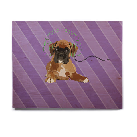 "NL Designs ""Rockin' Pup Boxer"" Purple Brown Animals Digital Illustration Birchwood Wall Art"