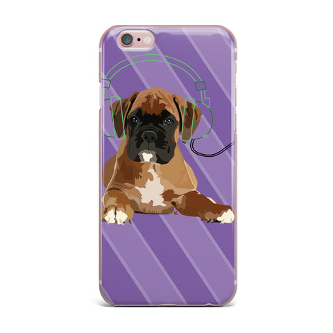 "NL Designs ""Rockin' Pup Boxer"" Purple Brown Animals Digital Illustration iPhone Case"