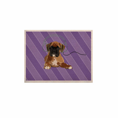 "NL Designs ""Rockin' Pup Boxer"" Purple Brown Animals Digital Illustration KESS Naturals Canvas (Frame not Included)"