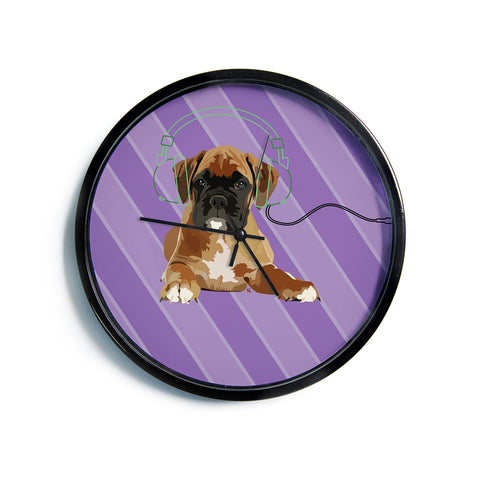 "NL Designs ""Rockin' Pup Boxer"" Purple Brown Animals Digital Illustration Modern Wall Clock"