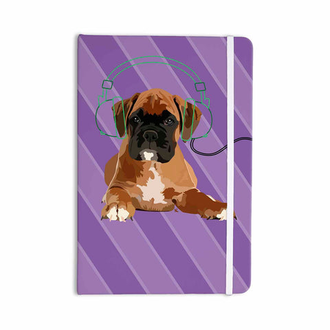 "NL Designs ""Rockin' Pup Boxer"" Purple Brown Animals Digital Illustration Everything Notebook"