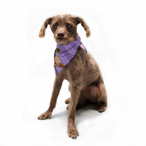"NL Designs ""Rockin' Pup Boxer"" Purple Brown Animals Digital Illustration Pet Bandana"