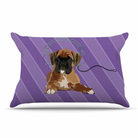 "NL Designs ""Rockin' Pup Boxer"" Purple Brown Animals Digital Illustration Pillow Sham"