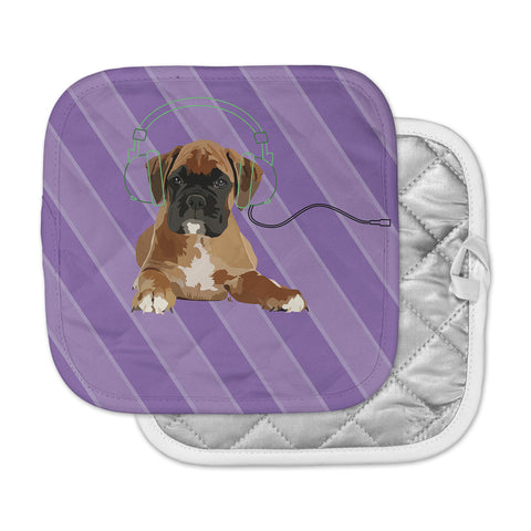 "NL Designs ""Rockin' Pup Boxer"" Purple Brown Animals Digital Illustration Pot Holder"