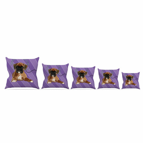 "NL Designs ""Rockin' Pup Boxer"" Purple Brown Animals Digital Illustration Throw Pillow"
