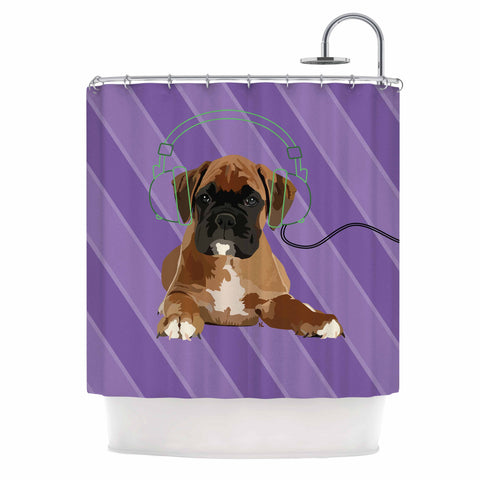 "NL Designs ""Rockin' Pup Boxer"" Purple Brown Animals Digital Illustration Shower Curtain"