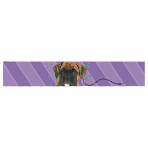 "NL Designs ""Rockin' Pup Boxer"" Purple Brown Animals Digital Illustration Table Runner"