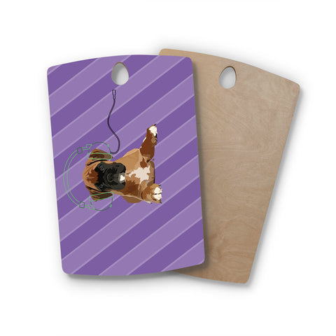"NL Designs ""Rockin' Pup Boxer"" Purple Brown Animals Digital Illustration Rectangle Wooden Cutting Board"