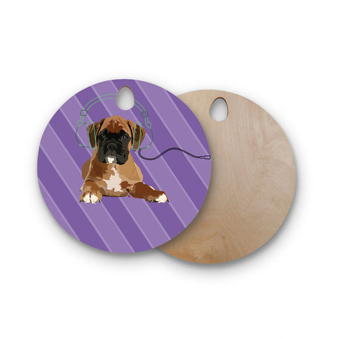 "NL Designs ""Rockin' Pup Boxer"" Purple Brown Animals Digital Illustration Round Wooden Cutting Board"