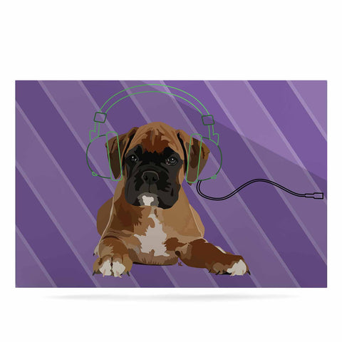 "NL Designs ""Rockin' Pup Boxer"" Purple Brown Animals Digital Illustration Luxe Rectangle Panel"