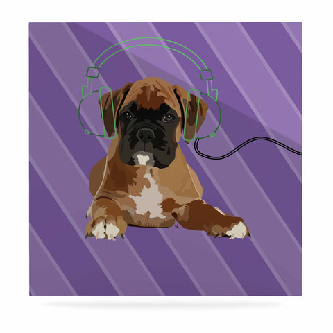 "NL Designs ""Rockin' Pup Boxer"" Purple Brown Animals Digital Illustration Luxe Square Panel"