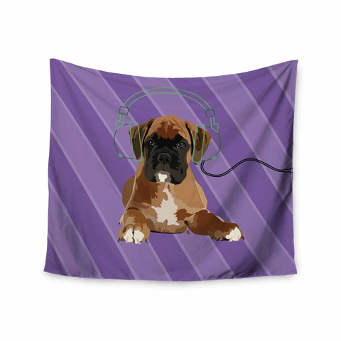 "NL Designs ""Rockin' Pup Boxer"" Purple Brown Animals Digital Illustration Wall Tapestry"