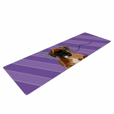 "NL Designs ""Rockin' Pup Boxer"" Purple Brown Animals Digital Illustration Yoga Mat"
